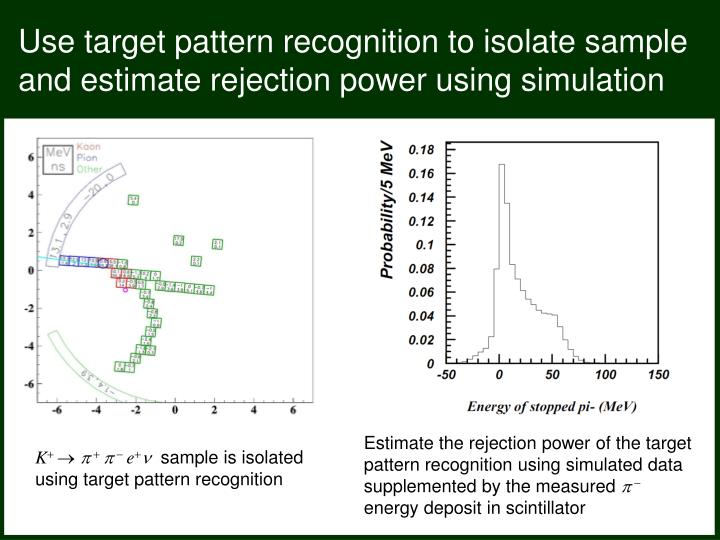 Use target pattern recognition to isolate sample and estimate rejection power using simulation