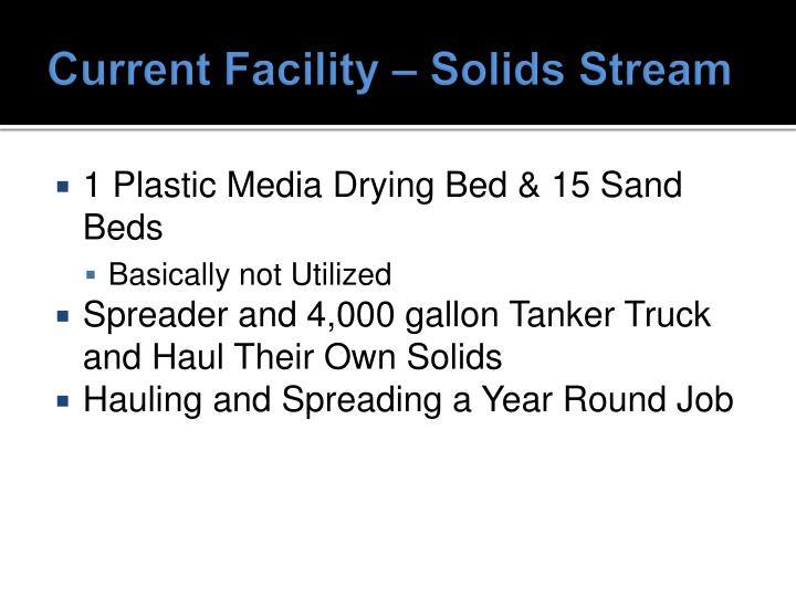 Current Facility – Solids Stream