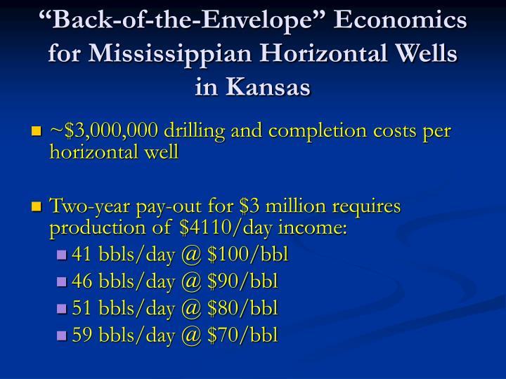 """Back-of-the-Envelope"" Economics for Mississippian Horizontal Wells"