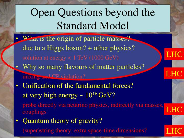 Open questions beyond the standard model