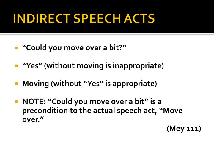 INDIRECT SPEECH ACTS