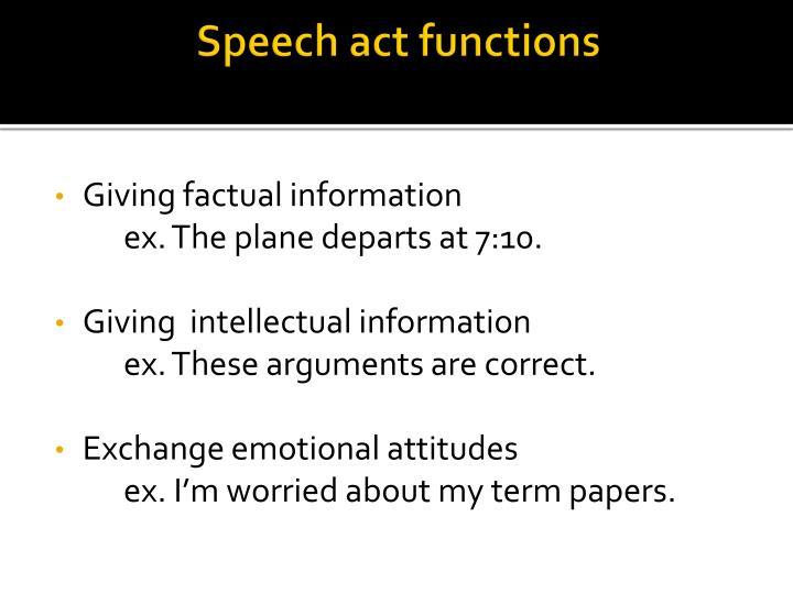 Speech act functions