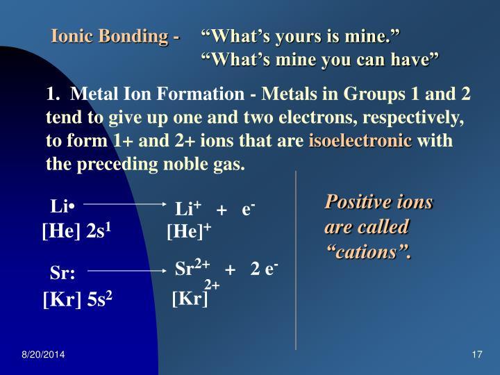 Ionic Bonding -