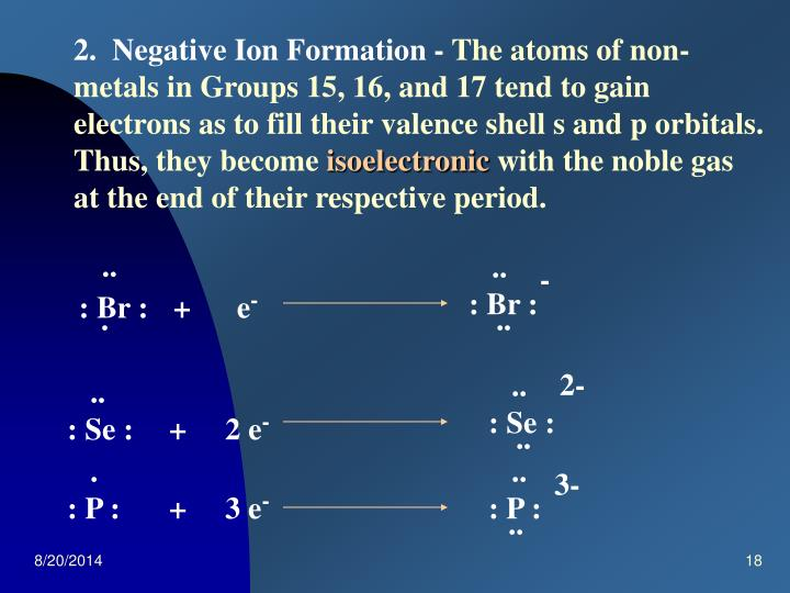 2.  Negative Ion Formation -