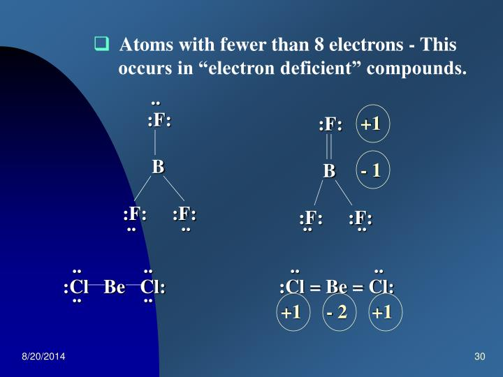 Atoms with fewer than 8 electrons - This