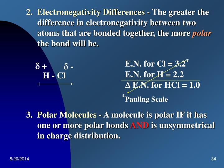 2.  Electronegativity Differences -