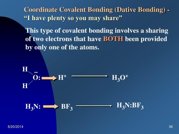 Coordinate Covalent Bonding (Dative Bonding) -