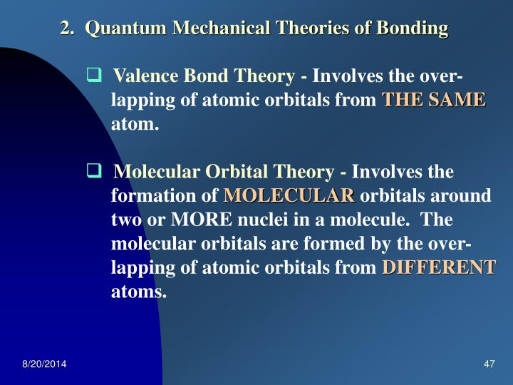 2.  Quantum Mechanical Theories of Bonding
