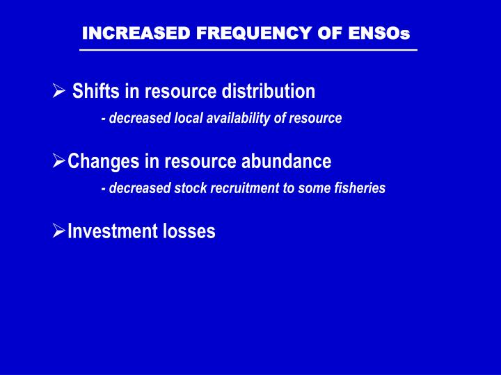 INCREASED FREQUENCY OF ENSOs