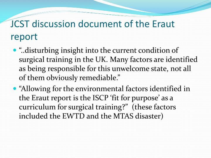 JCST discussion document of the Eraut report