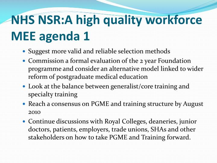 NHS NSR:A high quality workforce