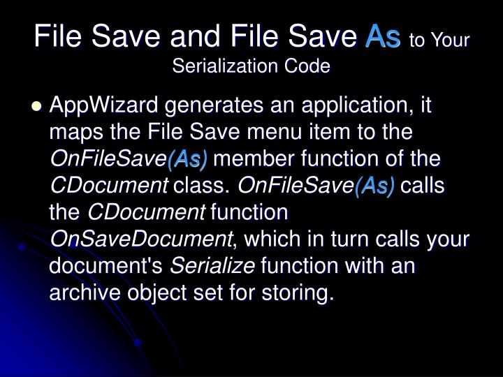 File Save and File Save