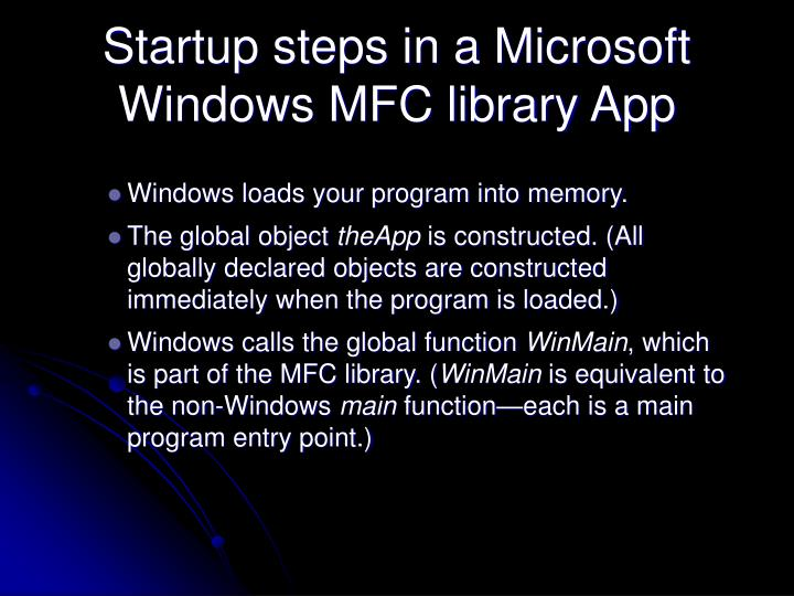 Startup steps in a Microsoft Windows MFC library App
