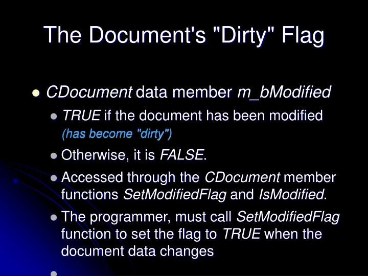 """The Document's """"Dirty"""" Flag"""