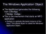 the windows application object