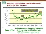 agronomic efficiency of fertilizer n used on corn grain in the u s 1964 2002