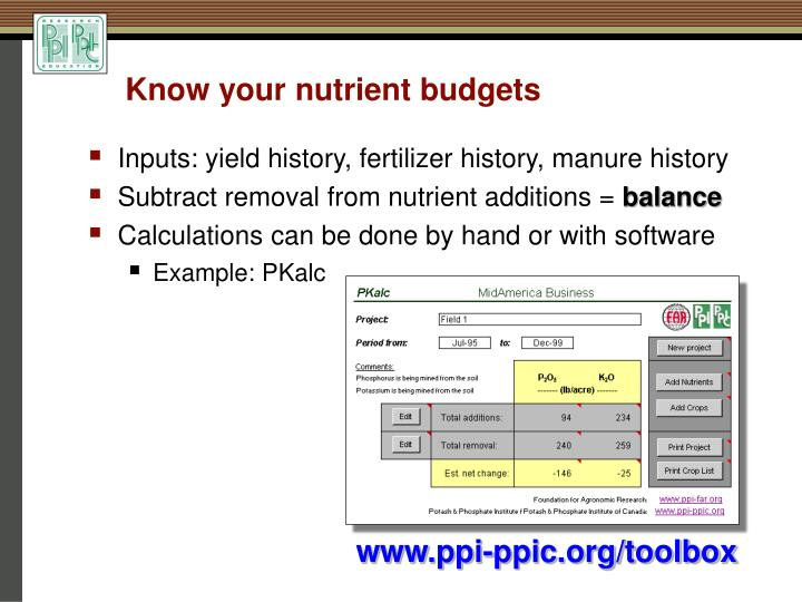 Know your nutrient budgets