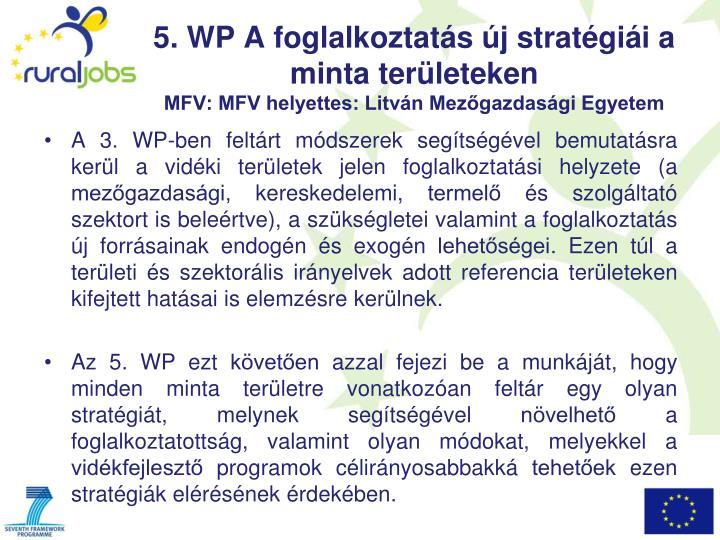 5. WP A foglalkoztatás új stratégiái a minta területeken