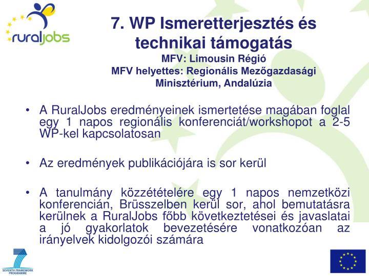 A RuralJobs eredményeinek ismertetése magában foglal egy 1 napos regionális konferenciát/workshopot a 2-5 WP-kel kapcsolatosan