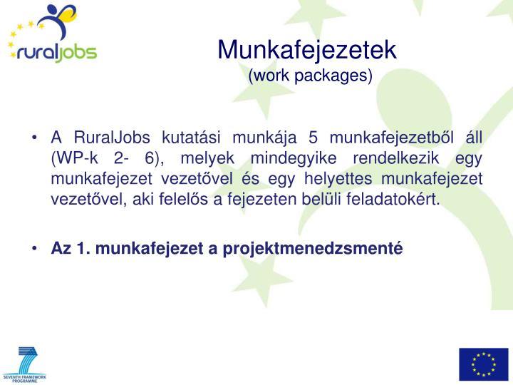 A RuralJobs kutatási munkája 5 munkafejezetből áll (WP-k 2- 6), melyek mindegyike rendelkezik egy munkafejezet vezetővel és egy helyettes munkafejezet vezetővel, aki felelős a fejezeten belüli feladatokért.