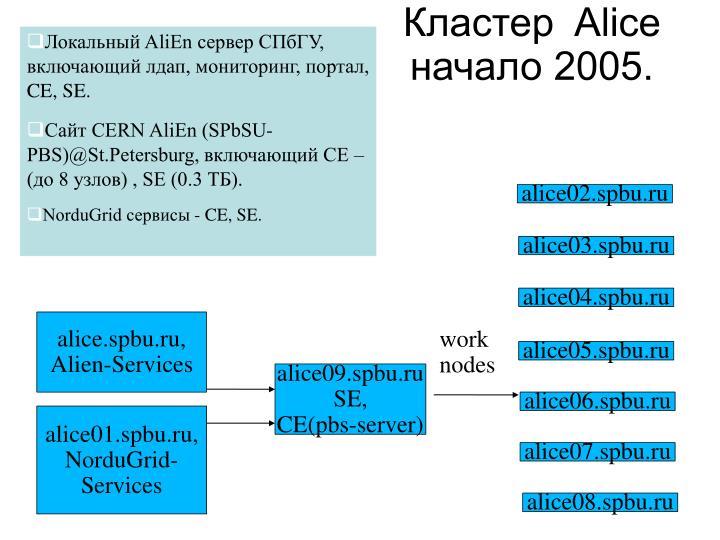 Локальный AliEn сервер СПбГУ, включающий лдап, мониторинг, портал, CE, SE.
