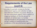 requirements of the law cont d