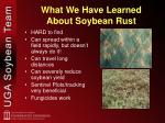 what we have learned about soybean rust