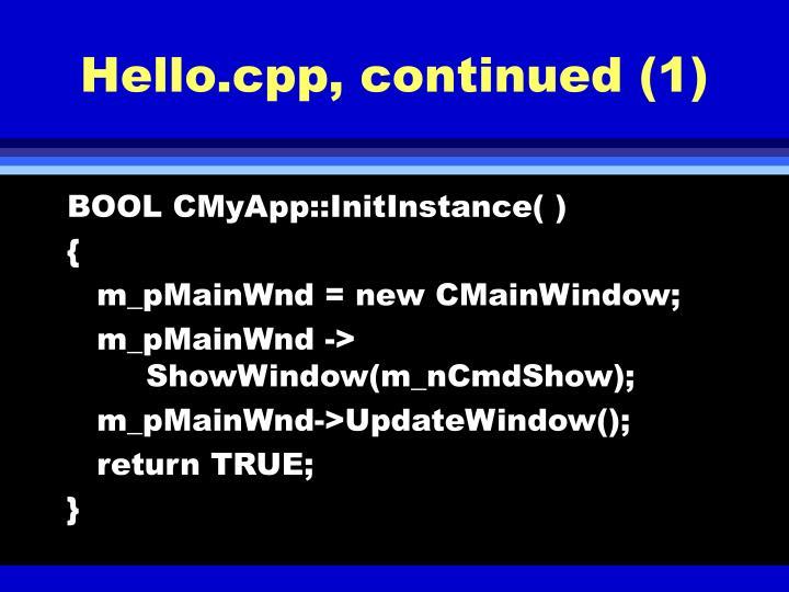 Hello.cpp, continued (1)