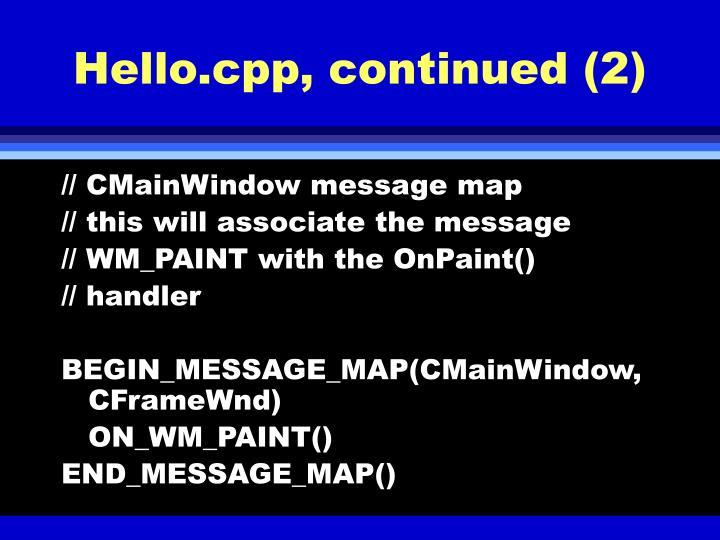 Hello.cpp, continued (2)