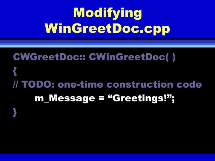 Modifying WinGreetDoc.cpp