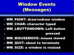 window events messages