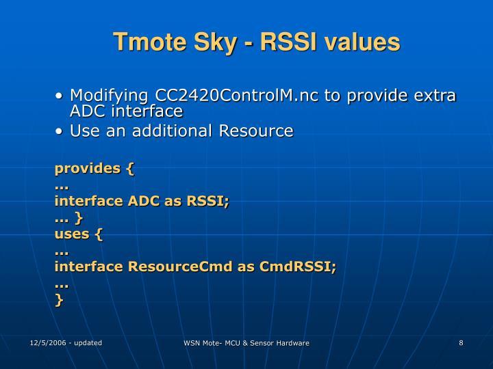 Tmote Sky - RSSI values