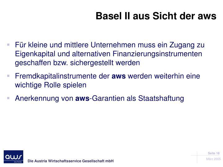 Basel II aus Sicht der aws