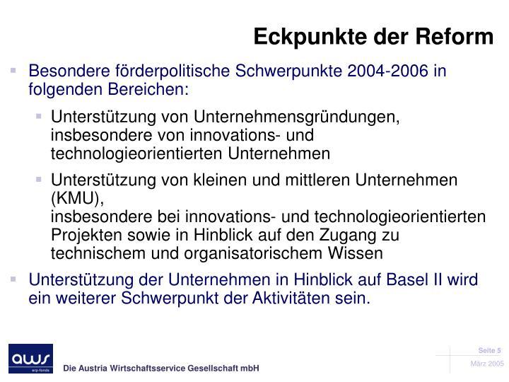 Eckpunkte der Reform