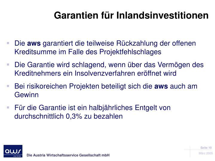 Garantien für Inlandsinvestitionen