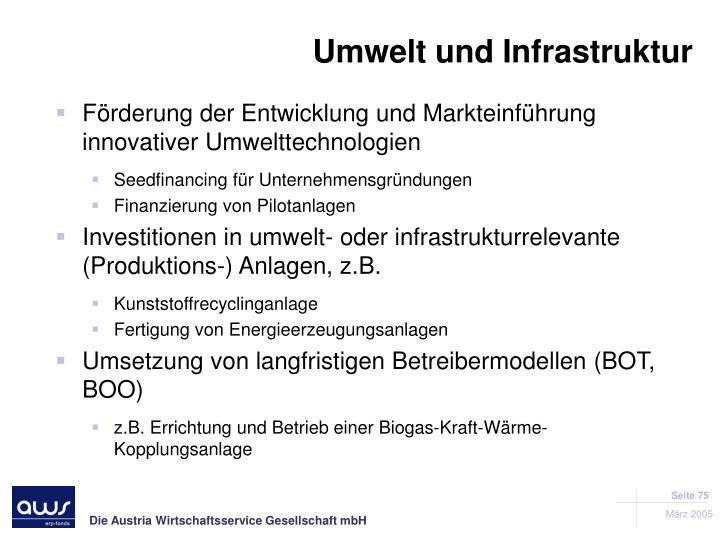 Förderung der Entwicklung und Markteinführung innovativer Umwelttechnologien