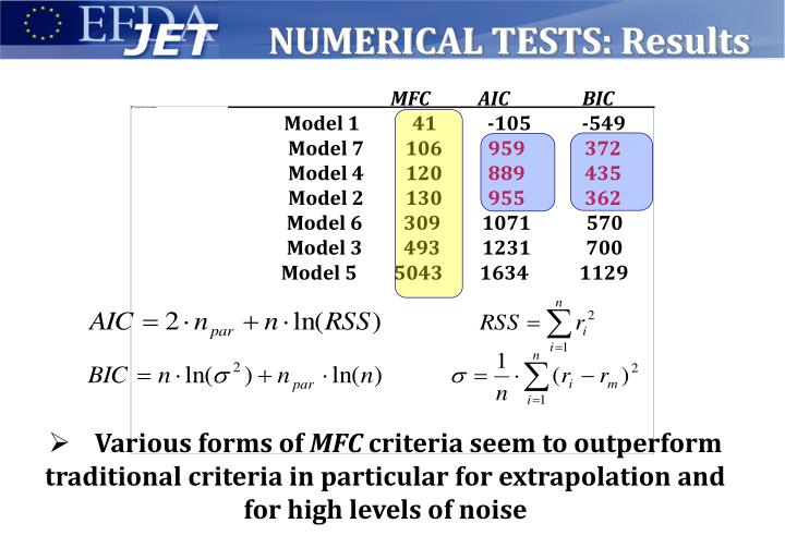 NUMERICAL TESTS: