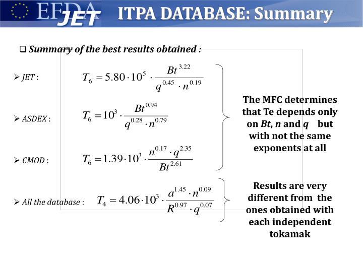 ITPA DATABASE: Summary