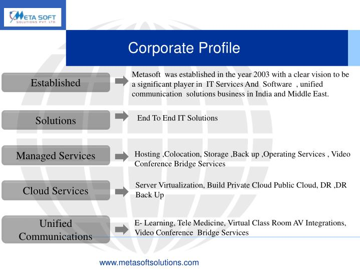 Metasoft  was established in the year 2003 with a clear vision to be a significant player in  IT Services And  Software  , unified  communication  solutions business in India and Middle East.