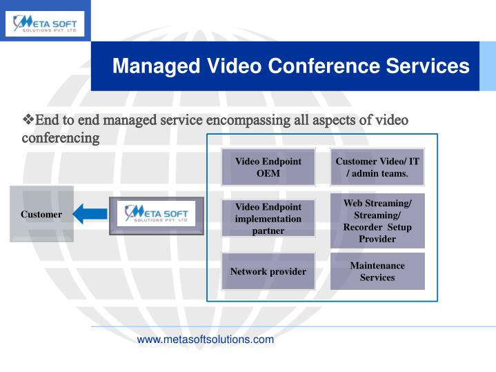 End to end managed service encompassing all aspects of video conferencing