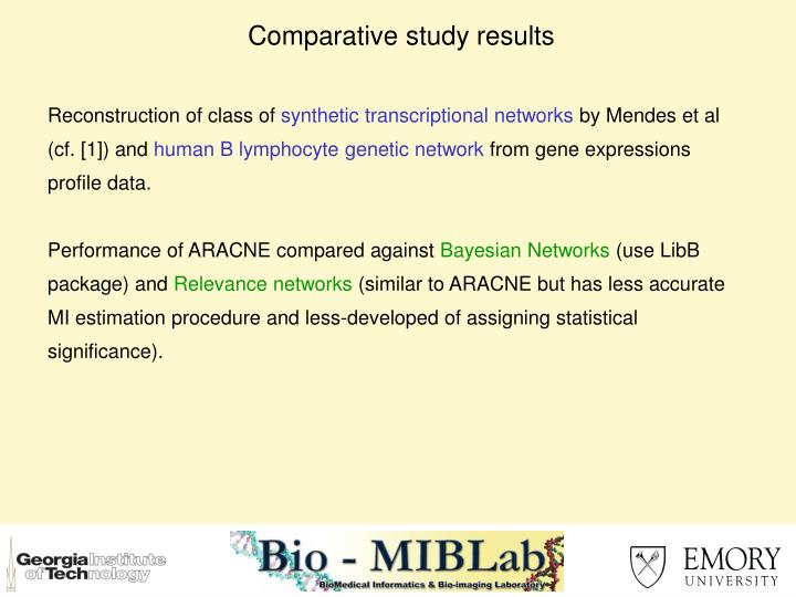 Comparative study results