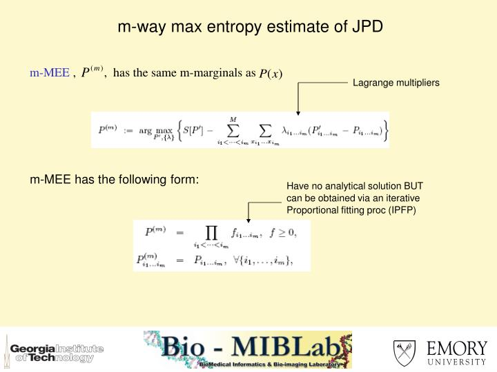 m-way max entropy estimate of JPD