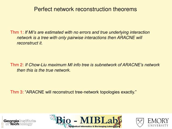 Perfect network reconstruction theorems