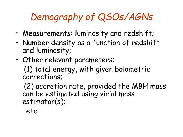 Demography of QSOs/AGNs
