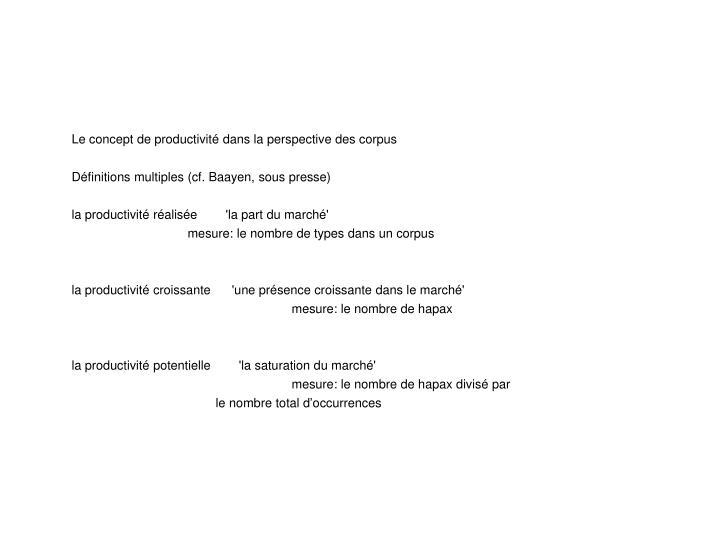 Le concept de productivité dans la perspective des corpus