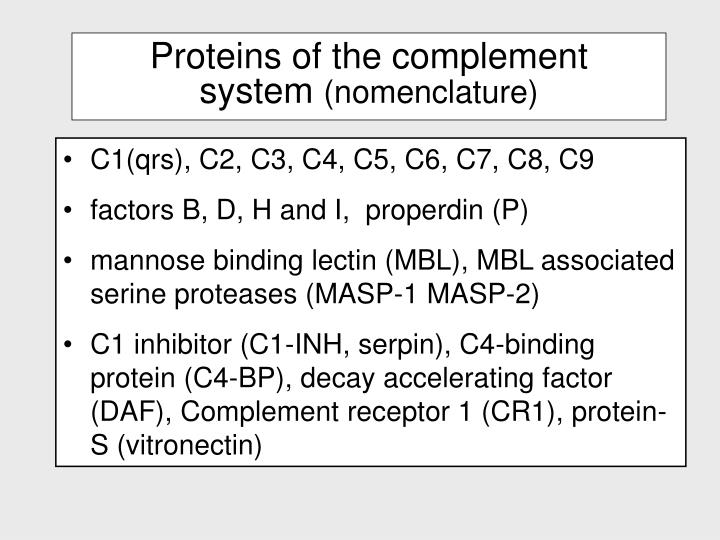 Proteins of the complement