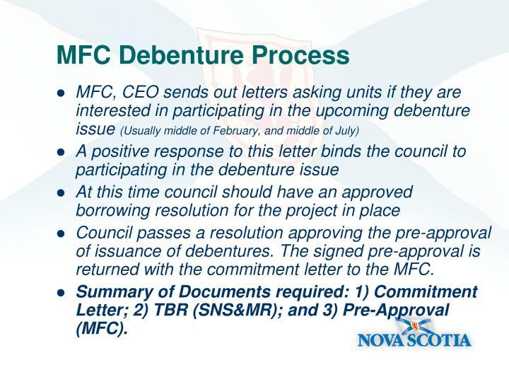 MFC Debenture Process
