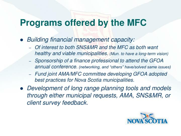 Programs offered by the MFC