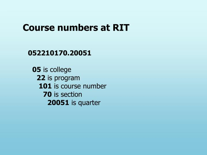 Course numbers at RIT