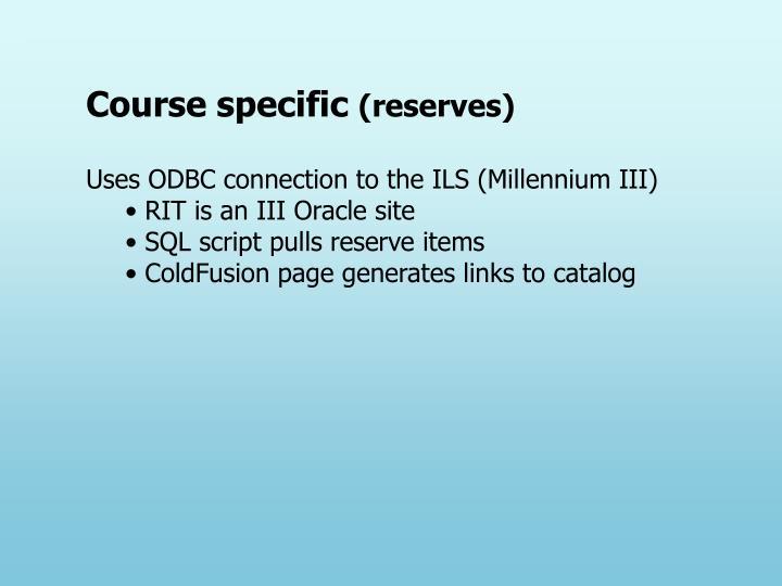 Course specific